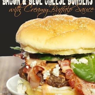 Bacon & Blue Cheese Burgers with Creamy Buffalo Sauce