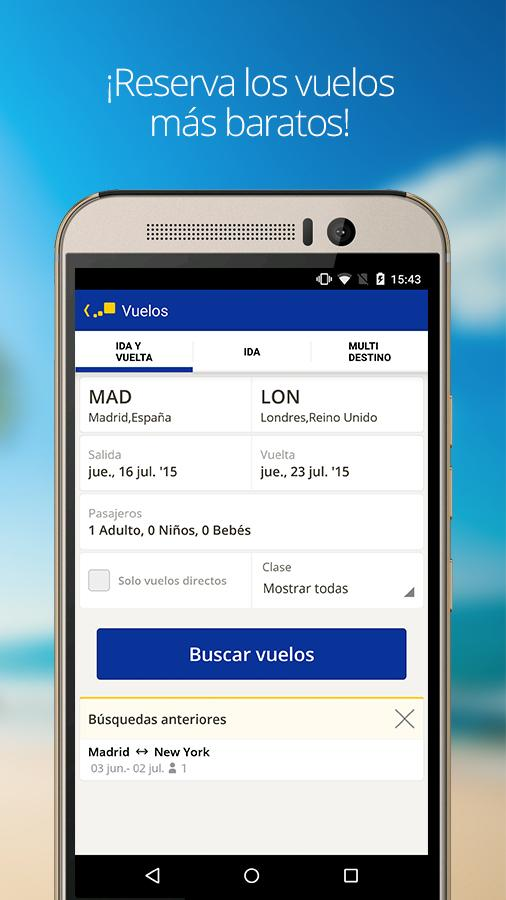 eDreams Vuelos, Hotel y Coches: captura de pantalla