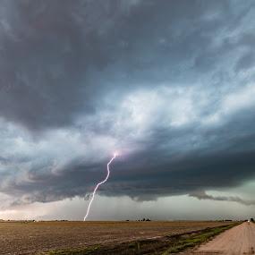 Supercell CG and wall cloud by Matt Hollamon - Landscapes Weather ( lightning, thunderstorm, tornado alley, kansas, wall cloud,  )