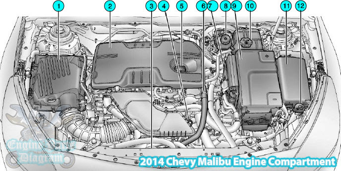 Chevy Malibu Engine Compartment Parts Diagram 2.4L L4 Engine