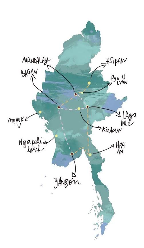 itinerario de viaje a Myanmar de 2-3 semanas