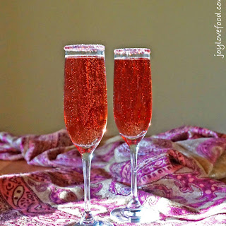 Pomegranate Champagne Cocktails.