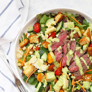 Steak Salad with Avocado Green Goddess Dressing.