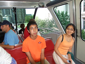 Photo: Riding the monorail out to the Space Needle