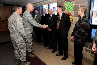 Photo: U.S. Air Force Lt. Gen. Harry Wyatt, Director of the Air National Guard, meets local civic leaders during a luncheon at the 148th Fighter Wing Air National Guard base in Duluth, Minn. Dec. 11th, 2009.  Lt. Gen Wyatt was briefed about the unit and the strong community involvement from the local area for the guard base. (U.S. Air Force photo by Master Sgt. Jason W. Rolfe)