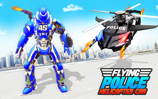 Flying Police Helicopter Car Transform Robot Games screenshots 6