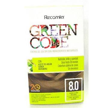 KIT TINTE RECAMIER GREEN   CODE INGREDIENTES NAT. RUBIO CLARO # 8.0X1UND