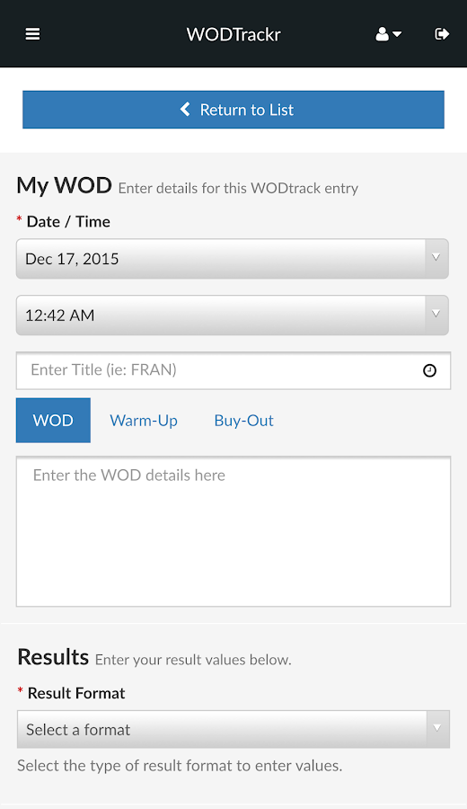 WODTrackr- screenshot