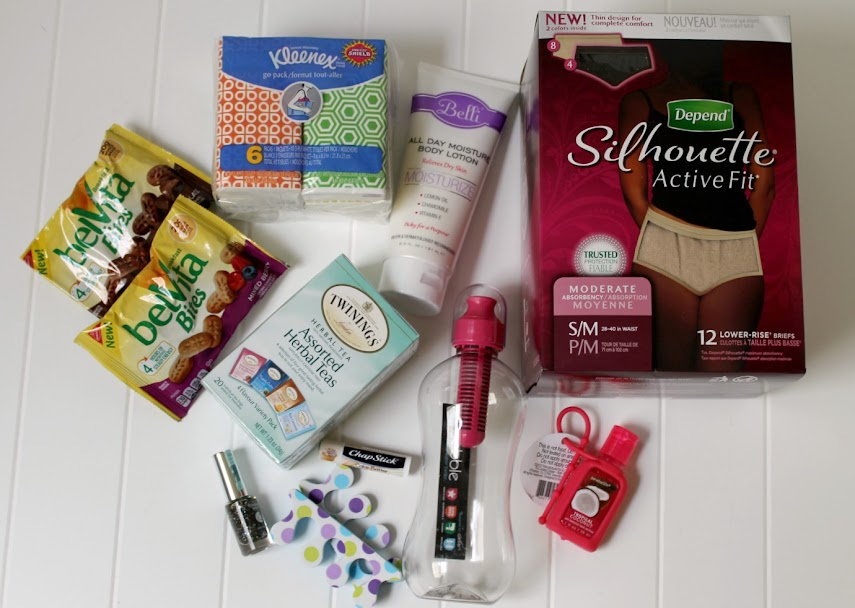 Make an After Labor Recovery Kit New Mom gift basket filled with tissues, healthy snacks, tea, lotion, antibac, nail polish, lip balm, disposable undies, pads, and more