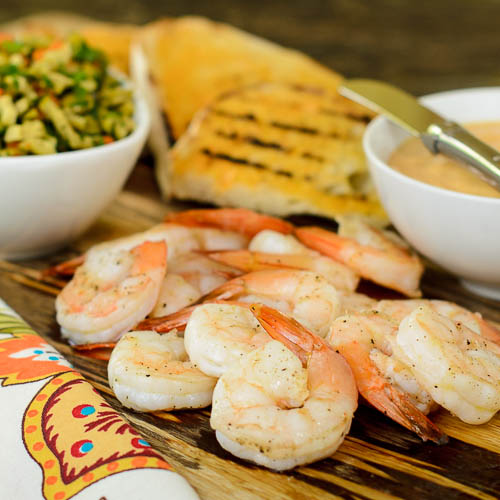 Grilled Bread with Shrimp, Portuguese Aioli, and Green Olive Relish