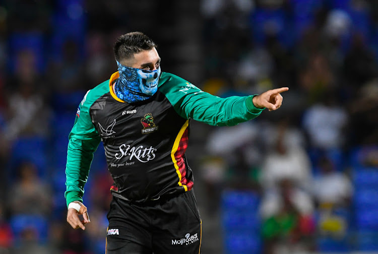 Tabraiz Shamsi of St Kitts & Nevis Patriots celebrates the dismissal of Shai Hope of Barbados Tridents during match 26 of the Hero Caribbean Premier League between St Kitts & Nevis Patriots and Barbados Tridents at the Warner Park Sporting Complex on September 4, 2018 in Basseterre, St Kitts, Saint Kitts And Nevis