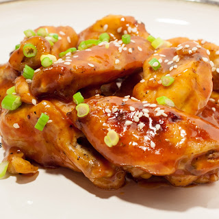 Sriracha Maple-Glazed Chicken Wings.
