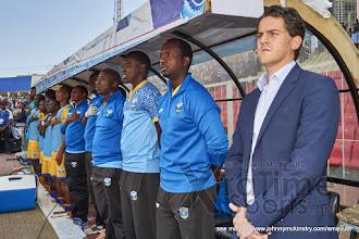 Photo: Coach McKinstry, technical team & subs. [Rwanda vs Uganda, CECAFA 2015 Final, 5 Dec 2015 in Addis Ababa, Ethiopia.  Photo © Darren McKinstry 2015, www.XtraTimeSports.net]