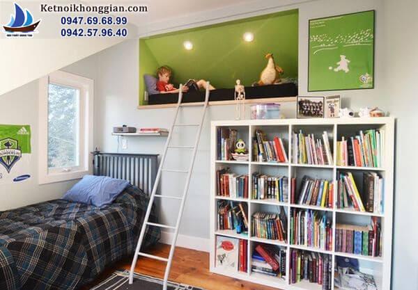 thiết kế phòng ngủ cho bé ở sát mái