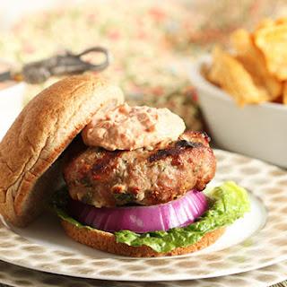 Spinach and Feta Turkey Burgers with Sun-Dried Tomato Tzatziki Sauce Recipe