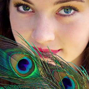 Mysterious by Rachelle Crockett - People Portraits of Women ( colorful, woman, feather, peacock, portrait, eyes )