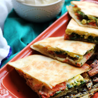 Smoked Salmon and Egg Breakfast Quesadillas with Everything Bagel Fries Recipe