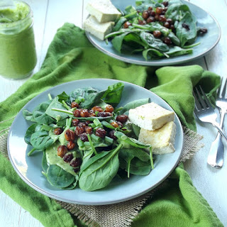Vegan Spinach Salad with Avocado Ranch and Chickpea Bacon.