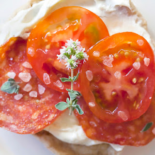 Grilled Pizzas With Mascarpone, Fresh Tomatoes, Pepperoni and Oregano Flowers