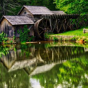 Springtime at Maybry Mil by Sandy Friedkin - Buildings & Architecture Public & Historical ( water, grind, mill, grist, flour, power,  )