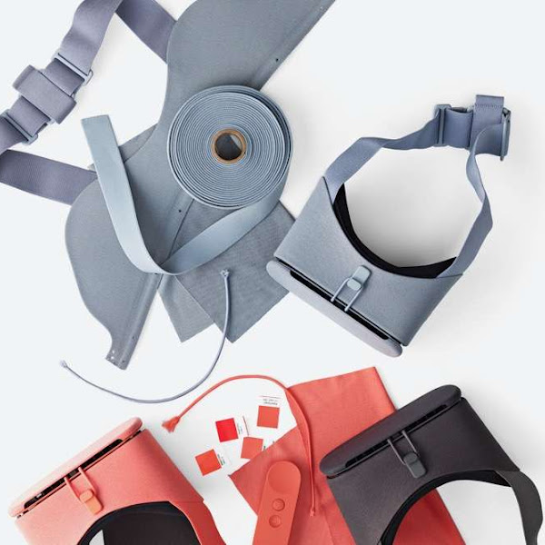 Overhead photo of Google VR hardware with fabric and other materials on a table