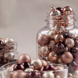 Glass Jars Filled with Mini Ornaments by Sherry Hallemeier - Artistic Objects Still Life ( artistic objects, home decorations, antique replicas, wall decoration, mini, home decor, jars, still life, ornaments, seasons greetings, apparel, christmas, holiday, heart, canon, coffee, wall art, clothing, jelly )