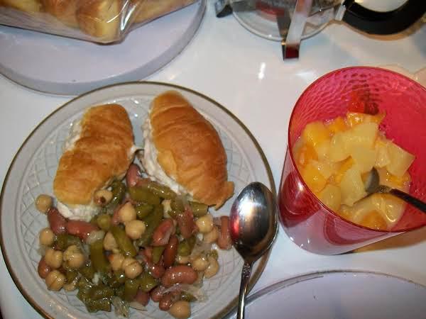 Three Bean Salad With Tuna Sandwiches And Fruit Salad.