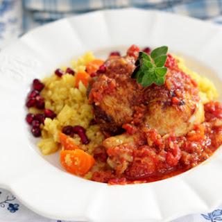 Moroccan Style Tajine Chicken with Cauliflower Couscous.