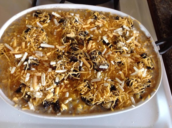 Add Half n half then place 1/2 potato mixture in casserole dish cover layer...