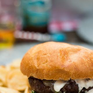 Shallot White Cheddar Burger with Arugula and Garlic Aioli