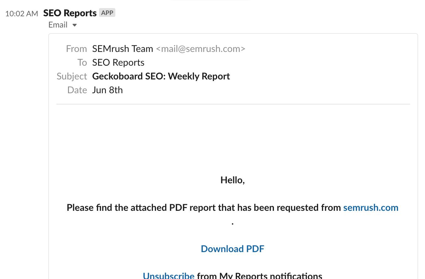 SEMrush email in Slack