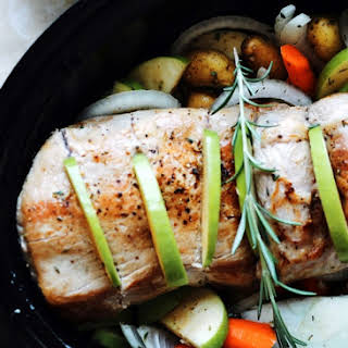 Slow-Cooker Pork with Apples, Rosemary, and Fingerling Potatoes (Whole30 + Paleo).