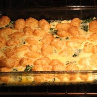 Tater Tot and Spinach Breakfast Casserole.
