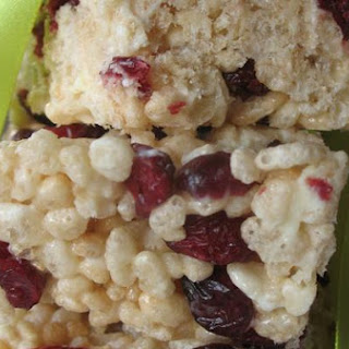 Cranberry and White Chocolate Rice Krispies Squares.