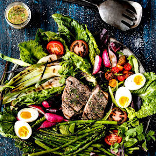 Grilled Tuna Nicoise Spring Salad with Honey Lime Cilantro Vinaigrette.