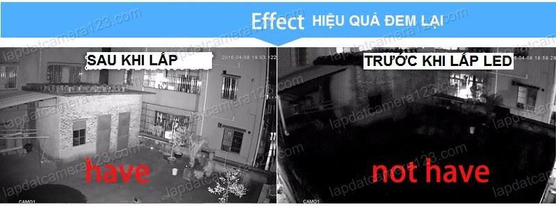 Trước và sau khi có LED Đèn hồng ngoại hỗ trợ camera nhìn đêm