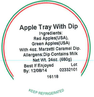 Label, Apple Tray with Dip, 24 oz