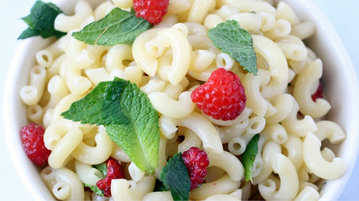 Raspberry Mint Pasta Salad W/ Honey White Balsamic Dressing.