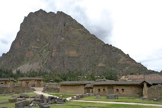 Photo: Ollantaytambo. Harvest storage facilities. The downslope wind helps to keep the quinoa, kiwicha and corn dry.