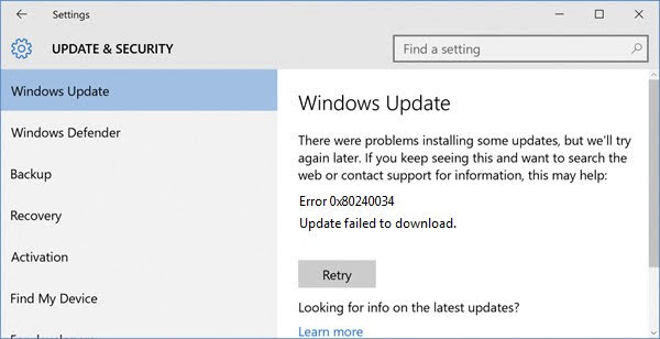 Windows Update Error 0x80240034 Update Failed to Download