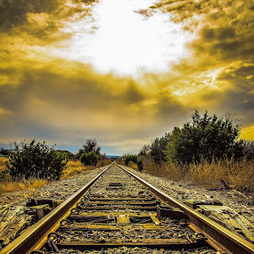 Sunset On The Tracks by Craig Curlee - Landscapes Sunsets & Sunrises ( clouds, train tracks, sunset, landscape, sun rays )