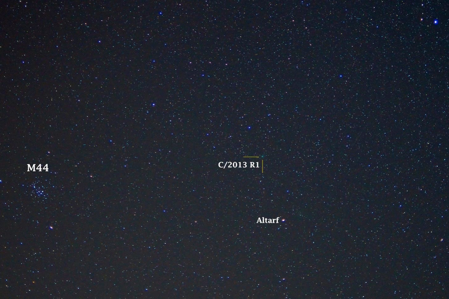 M44 and Comet Lovejoy (C/2013 R1) on November 2, 2013