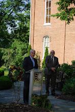 Photo: Eureka College VP Michael Murtagh introduces President J. David Arnold to speak at the Reagan Memorial 2013