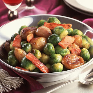 Pan Fried Brussels Sprouts and Shallots.
