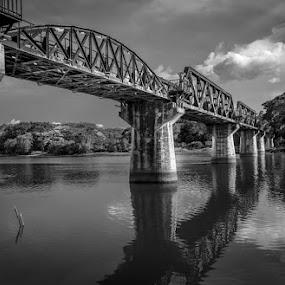 Bridge over the River Kwai by Toni Laird - Black & White Buildings & Architecture ( river kwai, kanchanburi, thailand, architecture, bridge, landscape, trains,  )