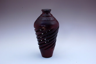 "Photo: David Jacobowitz - Spiral Vase - 8"" x 5"" - Birch with red and black stains"
