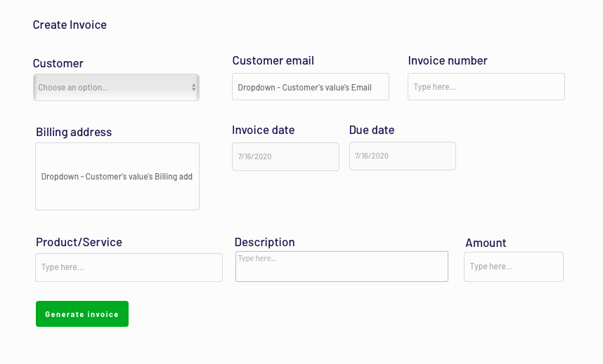 Designing an invoice in Bubble's Quickbooks no-code clone