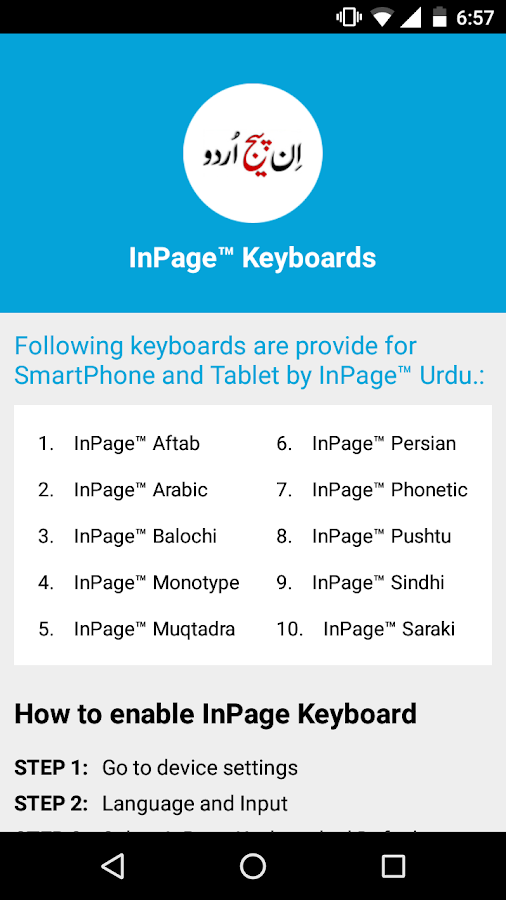 Arabic fonts for inpage