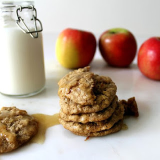 Spiced Apple Oatmeal Cookies With Brown Butter Icing.