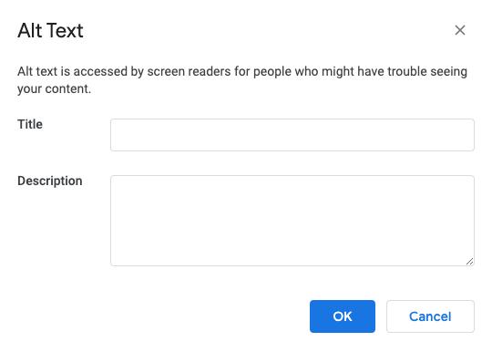 Google Docs Alt text description window